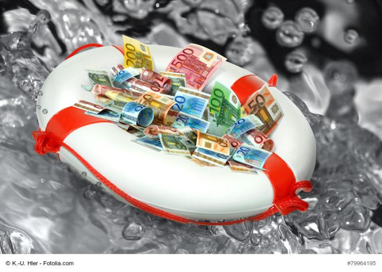 Euroscheine im Rettungsring