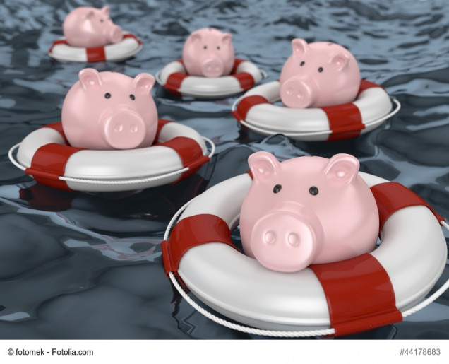 Sparschweine im Rettungsring