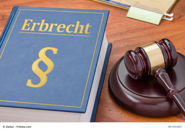 Gesetzbuch mit Richterhammer - Erbrecht