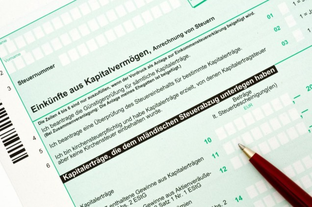 Deutsches Einkommensteuerformular / German tax form for the tax