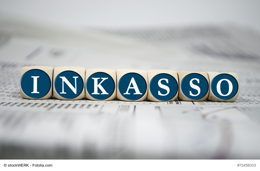 Würfel mit Inkasso-Schriftzug