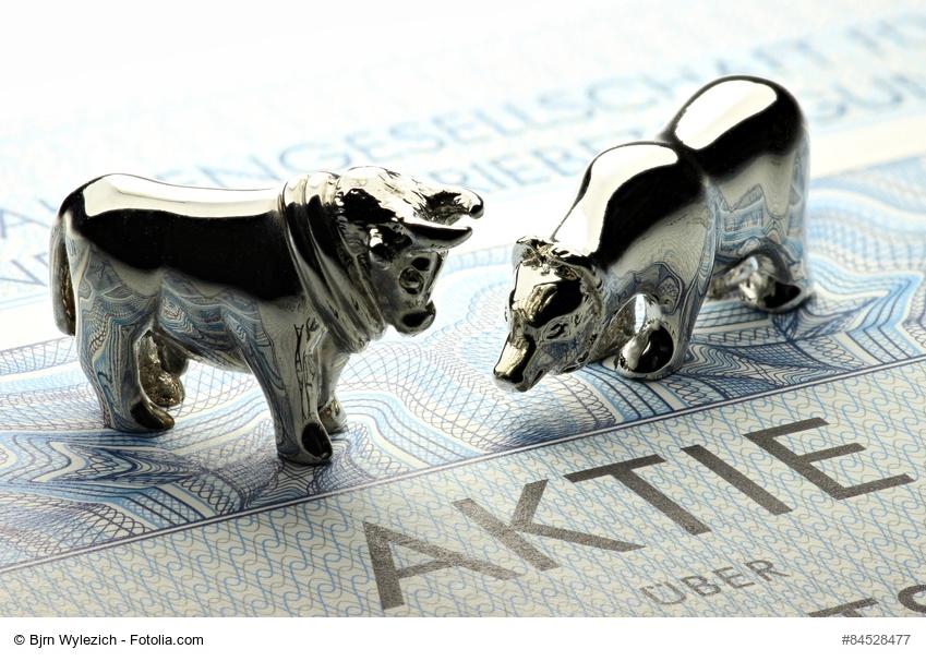 Bulle und Bär-Modelle auf Aktie