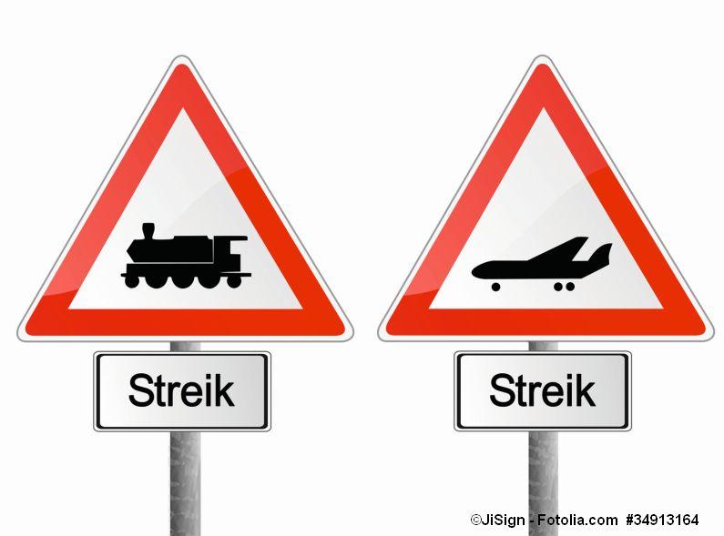Verkehrsschilder Streik Bahn Flugzeug