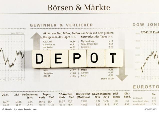 Scrabble-Wort Depot auf Zeitung mit Börsenkurs