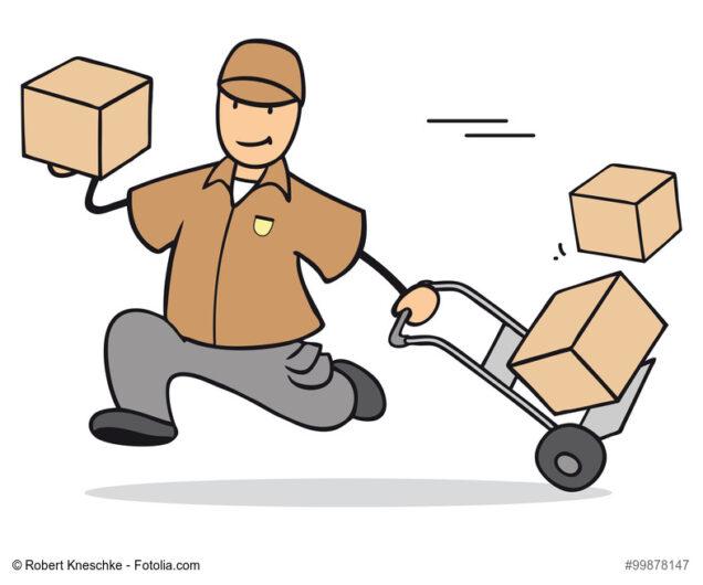 Grafik Schneller Paketzusteller mit Lieferung