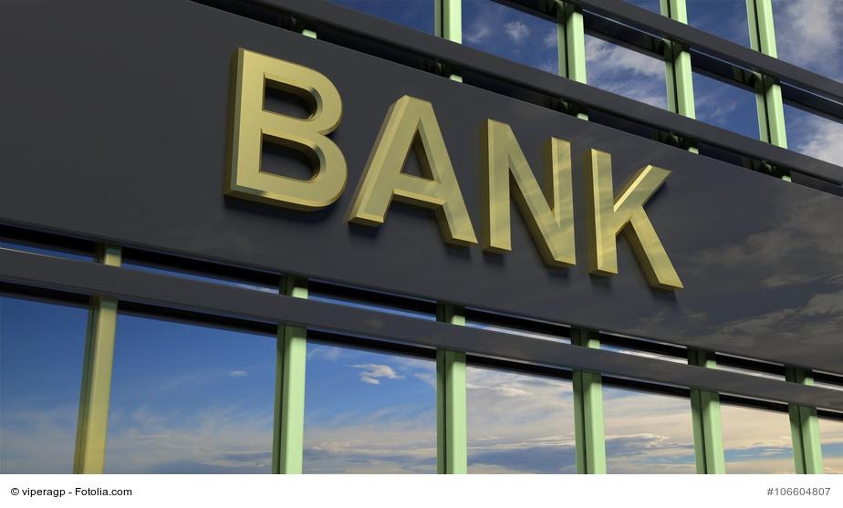Bank-Schild am Gebäude