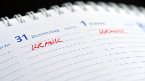 Notiz Krank im Kalender
