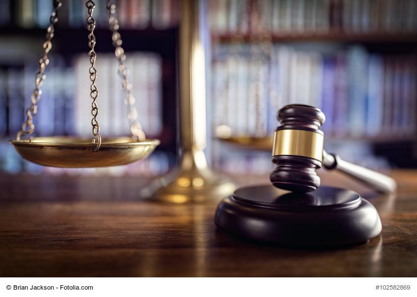 Richterhammer, Waage und Rechtbücher im Hintergrund