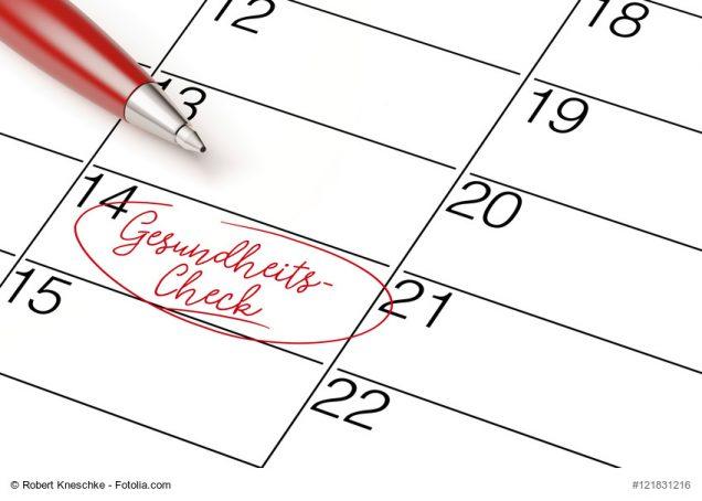 Termin Gesundheitscheck im Kalender eingetragen