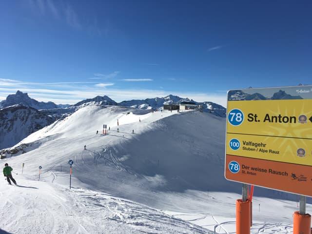 Wegweiser Skigebiet St. Anton
