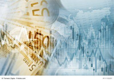 Euro-Geldscheine und Aktienkurse