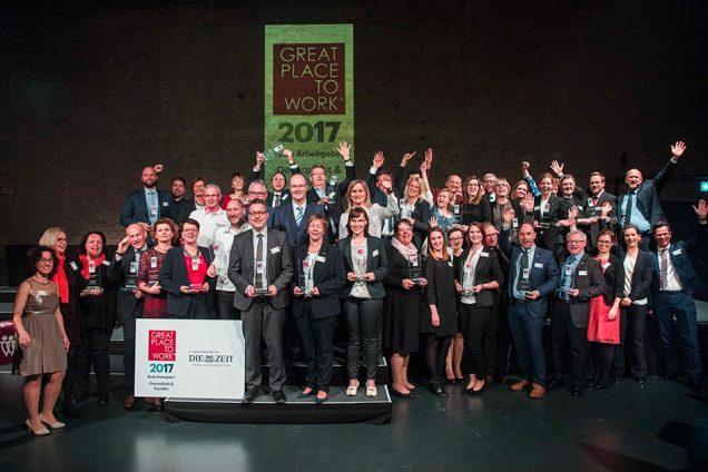 Great Place to Work® Prämierung «Beste Arbeitgeber Gesundheit & Soziales» am 15.3.2017 in den Bolle Festsälen in Berlin. Foto: Gero Breloer für GPTW