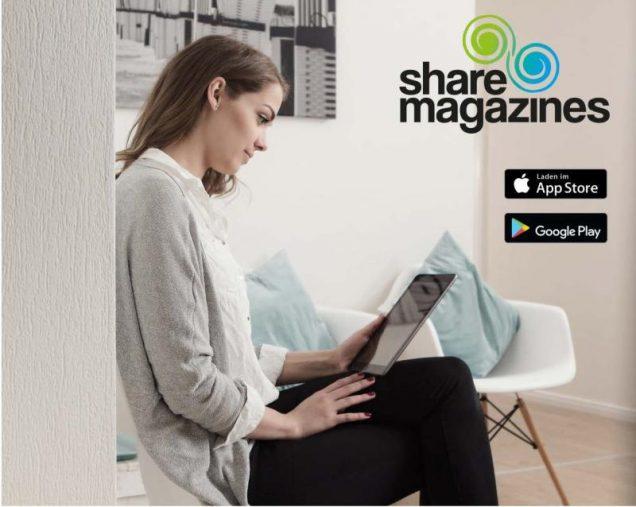 Frau nutzt sharemagazines-Abo im Wartezimmer