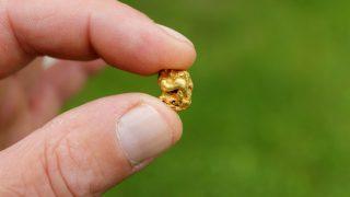 hand hält Gold-Nugget