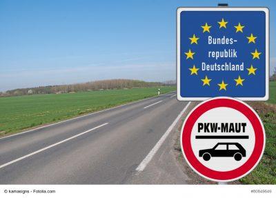 Grenzschild Deutschland, darunter Schild PKW-Maut