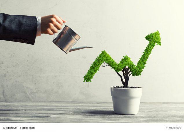 Mann gießt Baum in Form von steigendem Aktienkurs