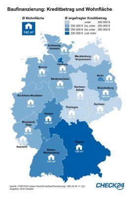 Grafik Baufinanzierung Höhe Kreditvolumen nach Bundesländer und Stadt