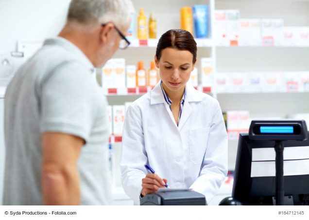 apothecary and senior customer at pharmacy