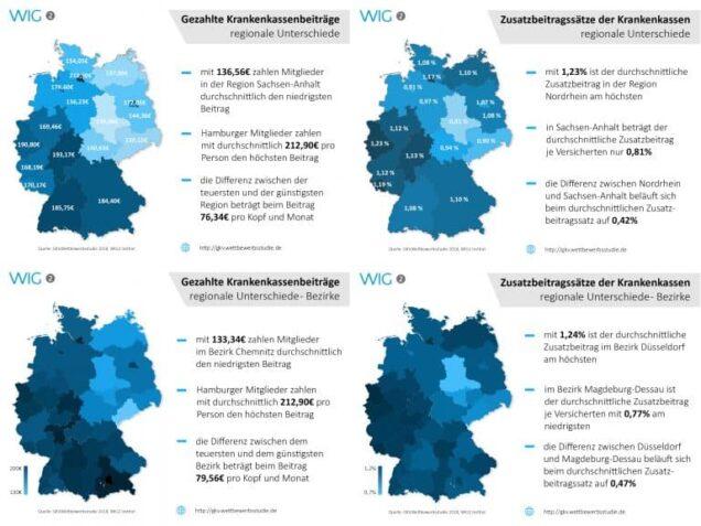 """Regionale Zusatzbeitragssätze und durchschnittlich gezahlte Krankenkassenbeiträge in Deutschland. Foto: """"obs/WIG2 GmbH"""""""