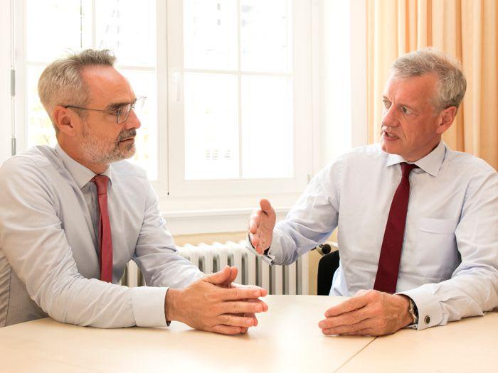 Diskutieren die Digitalisierung im Gesundheitswesen: Kai Brüning und Prof. Dr. Ferdinand M. Gerlach (v. l.), Quelle: apoBank