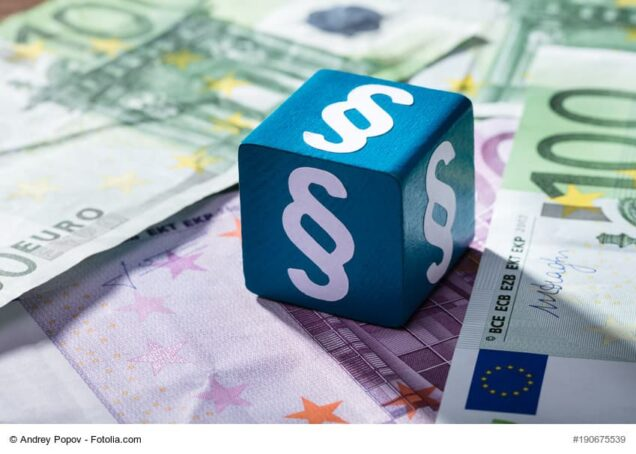White Paragraph Symbols On The Blue Block Over The Euro Notes