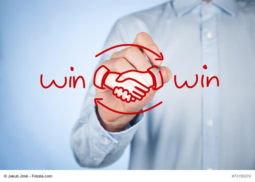Win win strategy Schriftzug