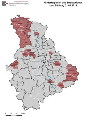 Die Grafik zeigt die Förderregionen des Strukturfonds in Nordrhein an.
