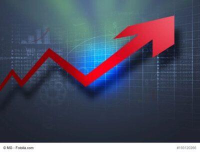Kurs-Pfeil nach oben im Aktienmarkt