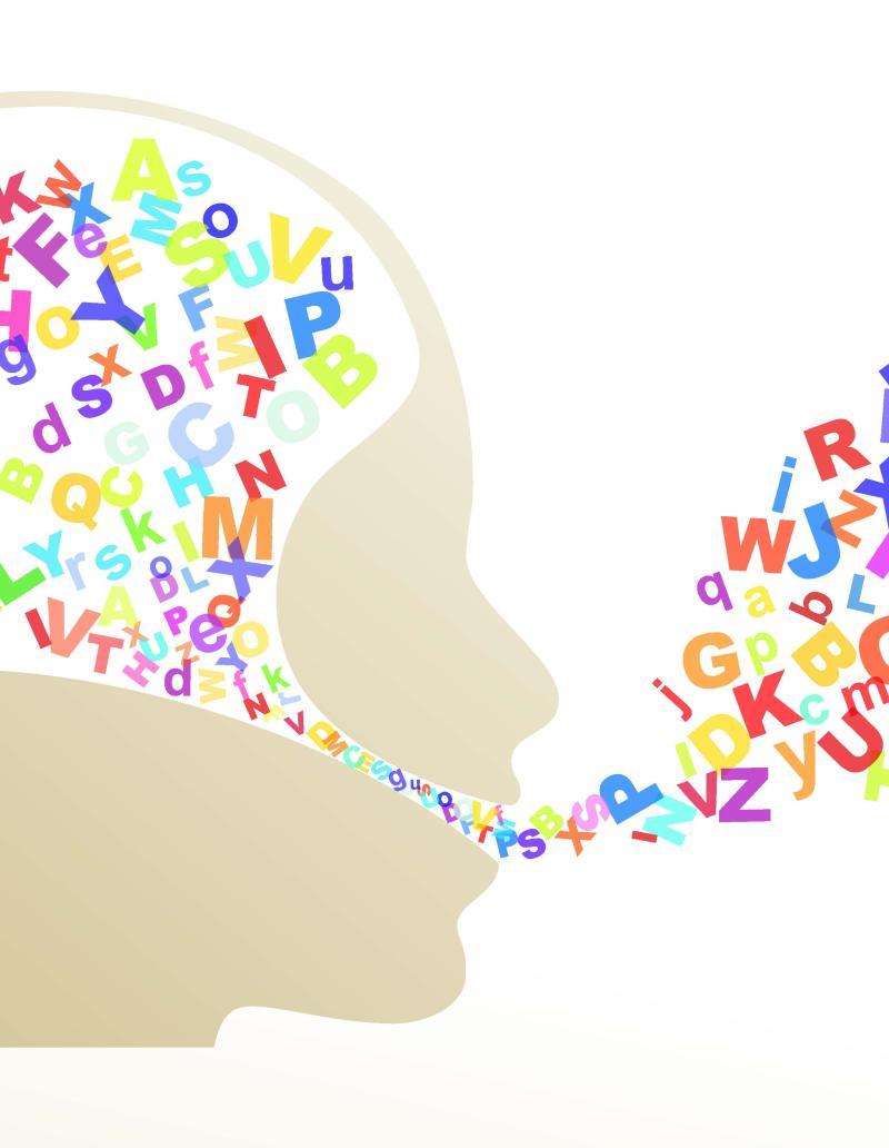 Kopf, aus dem Buchstaben fließen als Symbol für Kommunikation