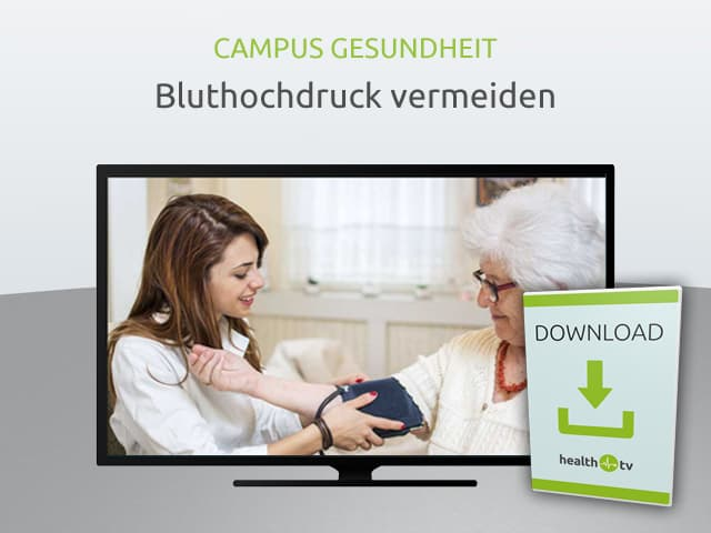 Bildschirm mit einem Film zum Thema Bluthochdruck vermeiden