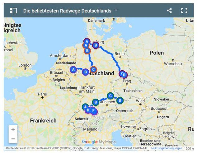 Interaktive Karte Radwege in Deutschland