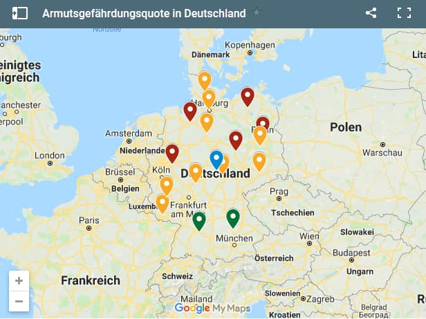 Karte Armutsgefährdungsquote in Deutschland nach Bundesländern im Jahr 2018