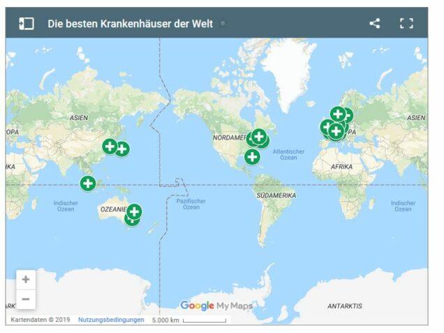 Karte: Städte mit der besten Gesundheitsversorgung
