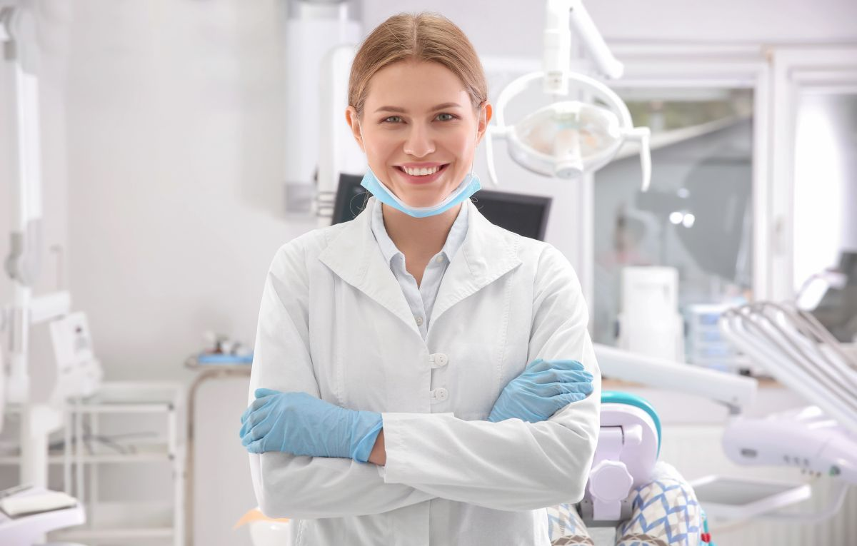 Young female dentist in clinic