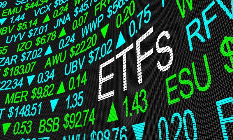 Schriftzug ETFs auf einer Börsentafel