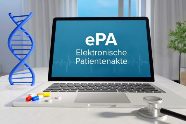 Bildschirm mit Aufschrift ePA (Elektronische Patientenakte)