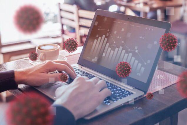Negativ-Trend Grafik auf Laptop