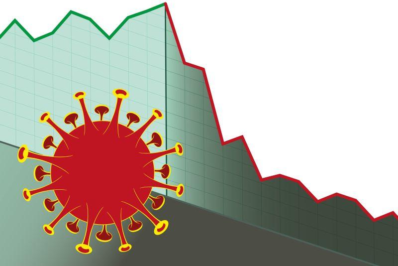 Ein großer rot-gelber Virus und ein abfallendes Diagramm.