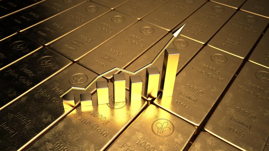 Goldbarren in Form eines Aktienkurses