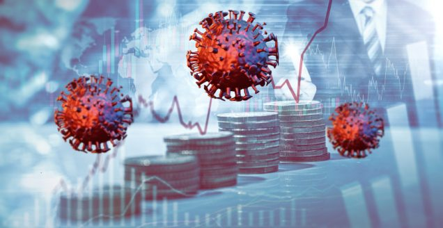 Coronavirus vor einem Börsenkurs