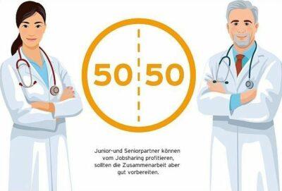 Ärztin und Arzt mit einem 50/50-Symbol