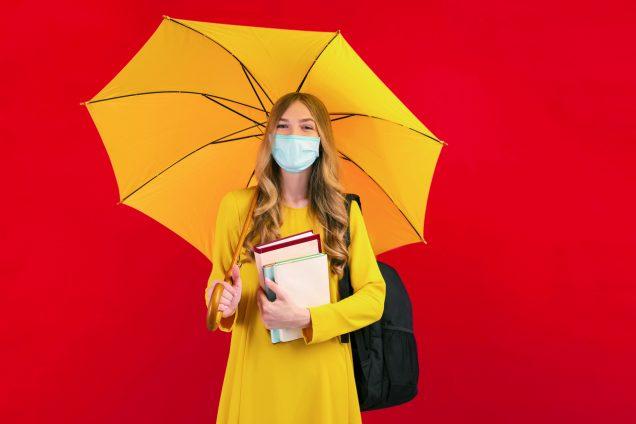 Mädchen, Frau, Schirm, Ausbildung