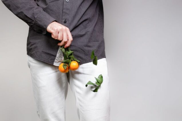 Concept of male sexual diseases. A man at the level of the genitals holds tangerines or oranges on a twig, from which the leaves fall off. Testicular cancer.