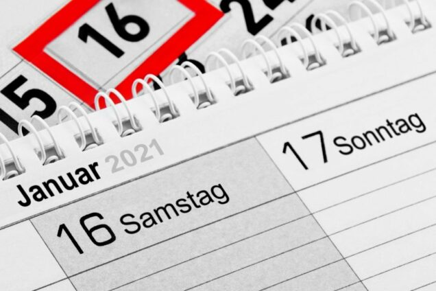 Kalender mit dem Wochentag Samstag