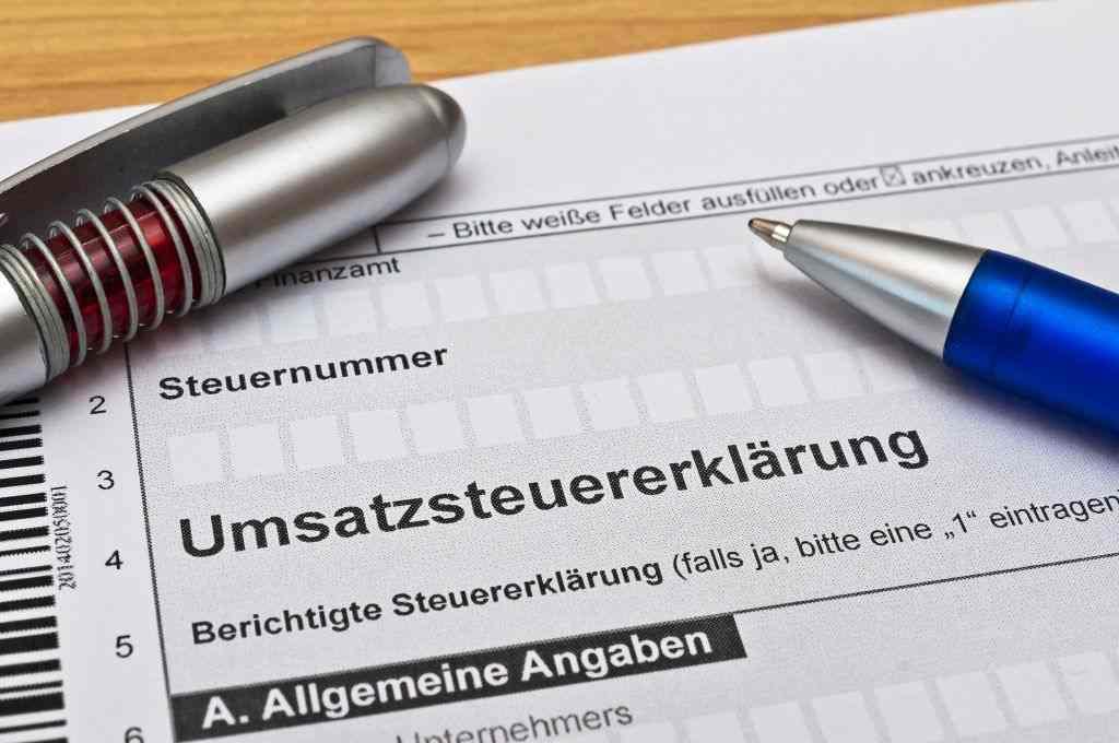 Formular mit der Aufschrift Umsatzsteuererklärung