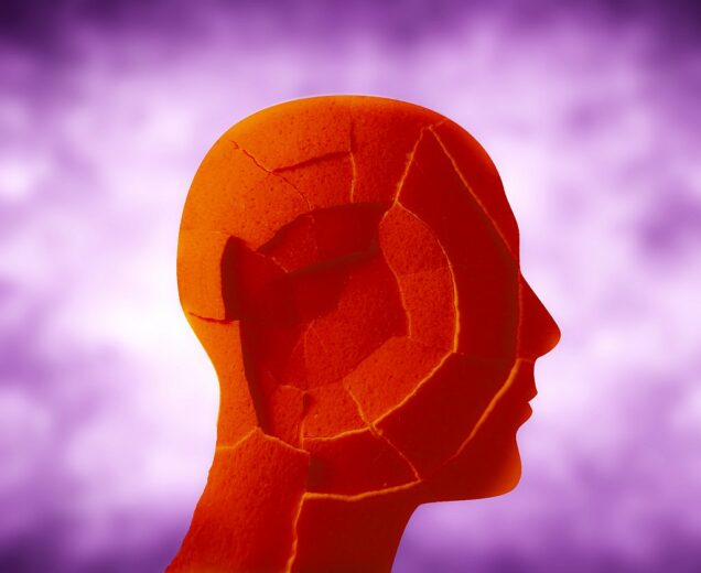 Plastik-Kopf mit zerbrochener Oberfläche