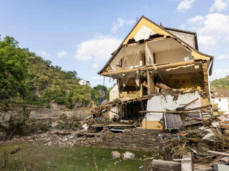 Haus nach einer Flutkatastrophe