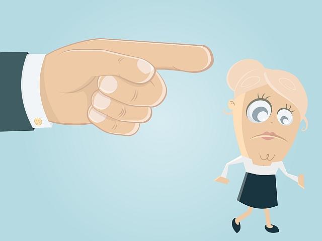 Finger zeigt den Weg nach draußen