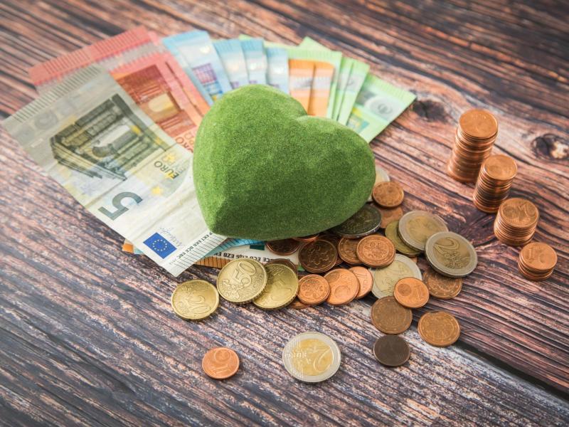 Grünes Herz und Geld