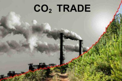 Rauchende Schornsteine mit der Aufschrift CO2 Trade